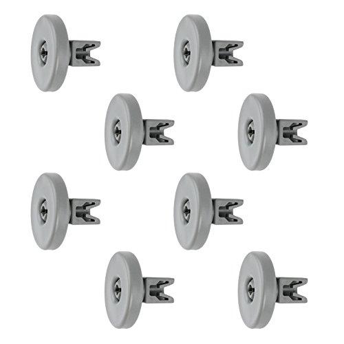 SPARES2GO Lot de 8 roulettes pour panier de lave-vaisselle Whirlpool, taille L