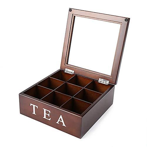 NAINAIWANG Teebox aus Holz Aufbewahrungsbox für Teebeutel mit Deckel mit 9 Fächern und Sichtfenster aus Glas Teekiste für die Teebeutel Aufbewahrung praktische Box