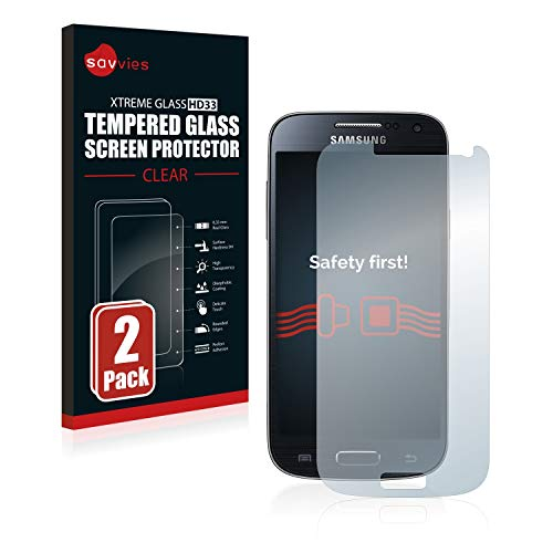 Savvies Panzerglas kompatibel mit Samsung Galaxy S4 Mini (2 Stück) - Echt-Glas, 9H Härte, Anti-Fingerprint