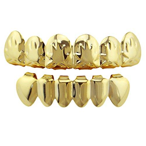 Gazechimp 1 Stück Vergoldete Ahornblatt Grills Oben Und Unten Zähne Grillkappen Zahnschmuck - Gold