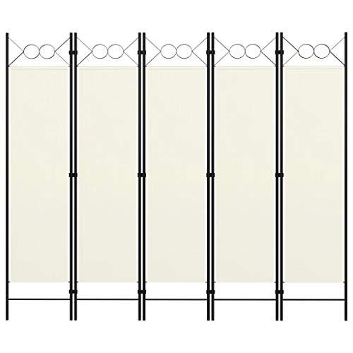 vidaXL Raumteiler Klappbar Freistehend Trennwand Paravent Umkleide Sichtschutz Spanische Wand Raumtrenner 5 TLG. Cremeweiß 200x180cm Eisen Stoff