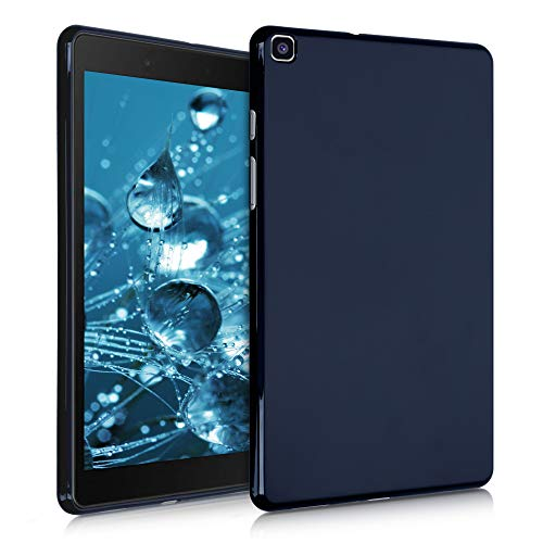 kwmobile TPU Silicone Case Compatible with Samsung Galaxy Tab A 8.0 (2019) - Soft Flexible Shock Absorbent Cover - Dark Blue