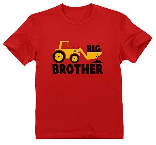 Green Turtle T-Shirts Camiseta para niños - Big Brother - Regalo Original de Cumpleaños para Niños Que Son Hermanos Mayores con Estampado de Tractor 5/6 Años 116cm Rojo