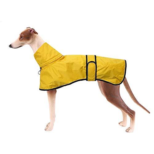 Chubasquero ligero para perros, ajustable con correas reflectantes y agujero para el arnés, de color amarillo; el mejor regalo para galgos, Lurcher y Whippet, color amarillo, talla S