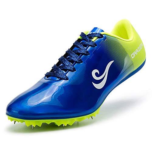 AIALTS 8 Clavos Zapatillas De Atletismo, Unisex Zapatillas Profesionales De Atletismo para Correr Zapatillas De Salto Largo,Azul,39