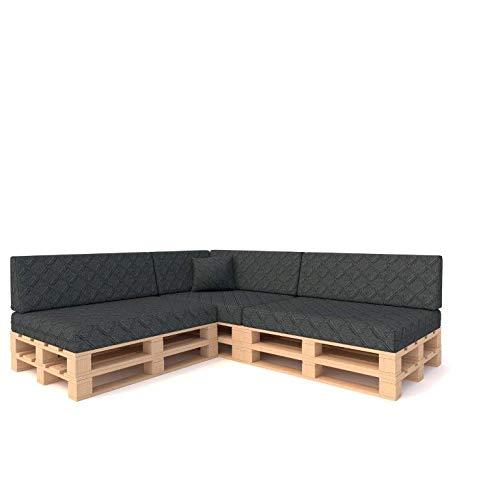 Pillows24 Palettenkissen 8-teiliges Set | Palettenauflage Polster für Europaletten | Hochwertige Palettenpolster | Palettensofa Indoor & Outdoor | Erhältlich Made in EU (8 teiliges Set, Dunkelgrau)