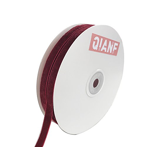 QIANF Vintage Burgundy Velvet Ribbon, 3/8 Inch X 25Yd