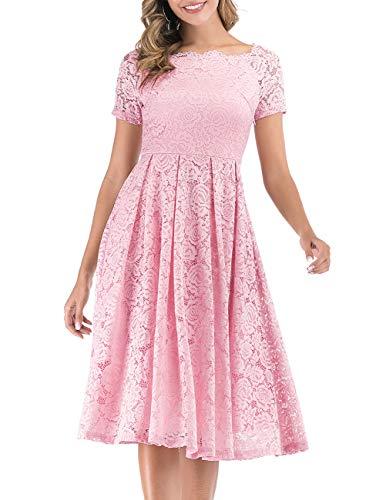 DRESSTELLS Damen Elegant Kleid Spitzenkleid Kurzarm Cocktailkleider Party Ballkleid Pink S