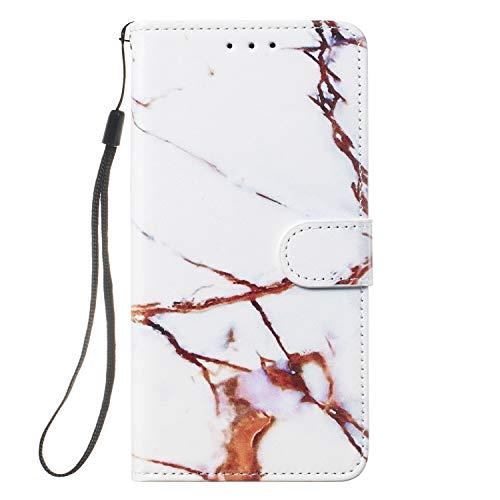 ShinyHülle Xiaomi Mi A3 Hülle, Flip PU Leder Handyhülle Kartenfächer Brieftasche Standfunktion Handytasche Magnetverschluss Lederhülle Stoßfest Schutzhülle Tasche für Xiaomi Mi A3 Weiß Marmor