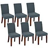 Chair Covers for Dining Room Set of 6 Dark Grey Stretch Slipcovers Chairs Covers Kitchen Chair Covers