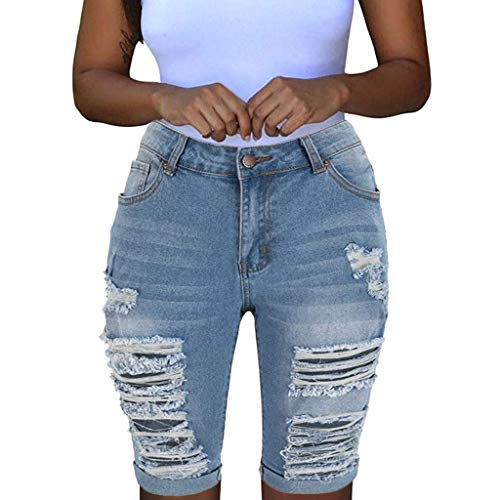 UOFOCO Women Mid Rise Stretchy Denim Shorts Knee Length Curvy Bermuda Stretch Short Jeans (X-Large,Light Blue)