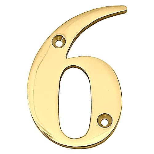 Doris 3-Inch Solid Brass-Polished Finish, Mailbox Address Numbers, Hotel/ House Door Number (Number 6)
