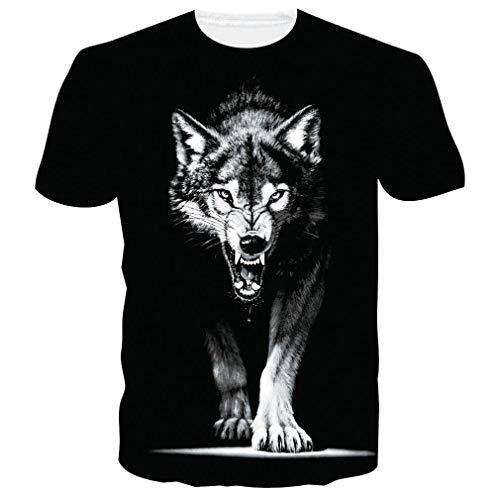 Camiseta Unisex con Estampado de Lobo 3D Divertida Camiseta para Hombre de Verano gráfico Animal Camisetas de Manga Corta Tops XL
