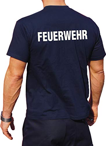 feuer1 T-shirt fonctionnel bleu marine avec protection UV 30 + inscription fluorescente 3XL bleu marine