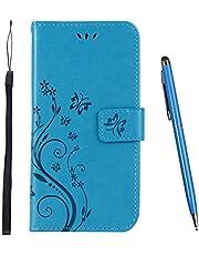 TOUCASA Funda Samsung Galaxy M30,Cuero Slim Case de Estilo Billetera TPU Silicona Case Interna Suave Colorida Cierre Magnético Funda para Samsung Galaxy M30 (Azul)