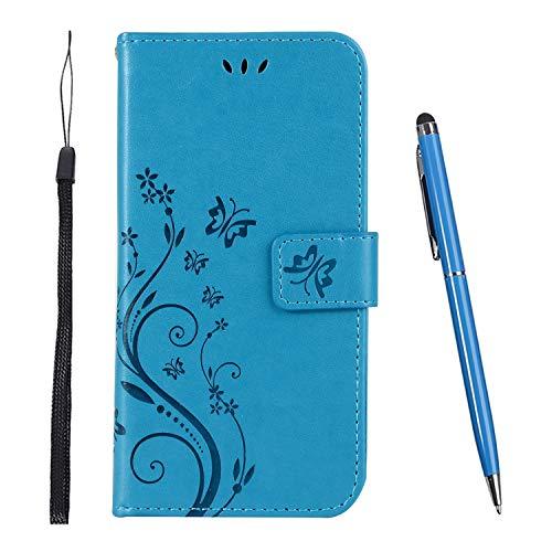 TOUCASA Hülle Kompatibel mit Huawei Y7 Pro 2019 / Y7 2019,Brieftasche PU Leder Flip Case [Colourful Painting] Case Handytasche Klapphülle für Huawei Y7 Pro 2019 / Y7 2019 (Blau)