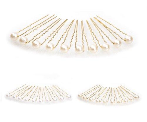 10 x Perlen Haarnadeln - Brauthaarschmuck, Haarschmuck, Perlenhaarnadel | 10PG-Beige