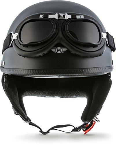 "MOTO Helmets® D22-Set ""Matt Black"" · Brain-Cap · Casco Moto Demi-Jet Motocicleta Scooter Urbano Helmet Urban Retro Chopper Cruiser Bobber Vintage Piloto Biker Pilot Chica Mujer hombre · S (55-56cm)"