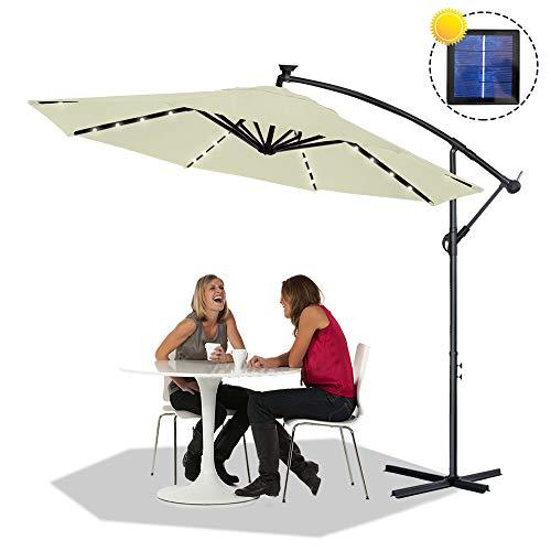Froadp Ø350cm Alu Knickbarer Sonnenschirme Höhenverstellbarer Ampelschirme mit kurbel Balkonschirm UV Schutz 40+ Gartenschirm(Beige, mit LED)