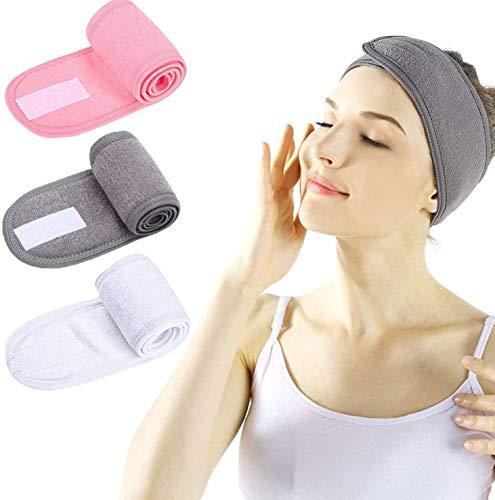Honyan Diadema facial para spa, 3 unidades, para lavar la cara, ducha, deporte, toalla elástica ajustable con cinta mágica (rosa, blanco y gris)