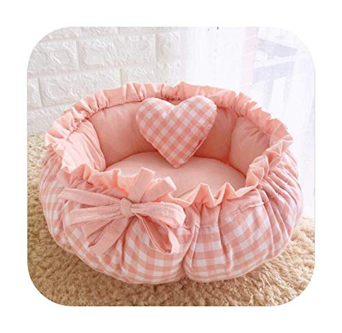 LAVOGUE Princess Style Sweety Pet Dog Bed Cat Bed House Cushion Kennel Pens Sofa with Pillow Warm Sleeping Bag 1Pc-8-S 40Cm