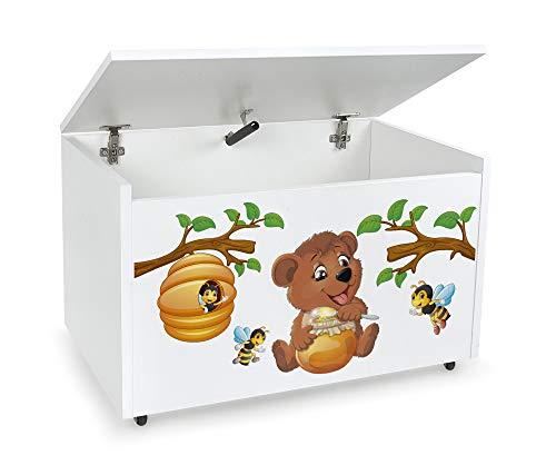 Leomark Holzspielzeugkiste auf Rädern, Sitzbank mit Stauraum, Spielzeugkiste mit Deckel, XXL Kinderbank - Truhenbank für Kinder, weiße Aufbewahrungsbox 91L, Maße: 71cm x40,5cm x45cm (Bär und Bienen)