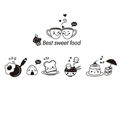 MLXZXQT Süße Lebensmittel Küche Wandaufkleber Kaffee Omelett Reis Ball Kuchen Wandaufkleber Home Wand Ofen Aufkleber Dekoration 20 * 30 cm