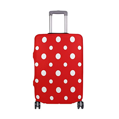 VIKKO Red And White Polka Dot Travel Luggage Cover Suitcase Cover Protector Travel Case Bag Protector Elastic Luggage Case Cover Fits 29-32 Inch Luggage for Kids Men Women Travel