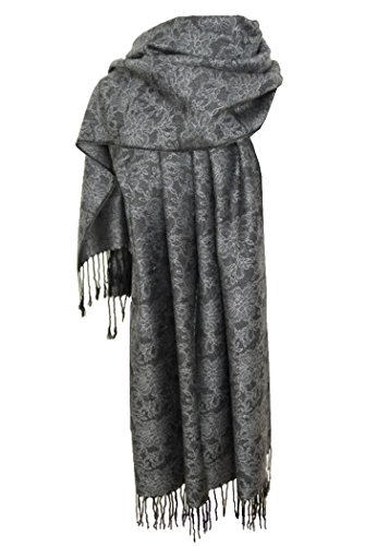 Nella-Mode Nella-Mode Edler & Eleganter Schal, Stola; - Florales Muster; - Farbe: Anthrazit/Silber