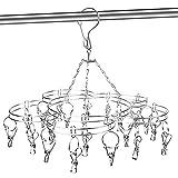 Tendedero Calcetines Tendedero de acero inoxidable, de secado, para colgar accesorios, con pinzas para la ropa, pinzas resistentes al viento, calcetines, ropa interior, ropa, toallas, 20 pinzas
