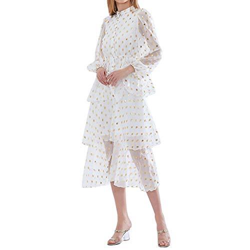YWSZJ Perspektive Polka Dot Damen Kleid Stehkragen Laterne Hülse Hohe Taille Pailletten Elegante Kleider Weiblich (Size : XL Code)