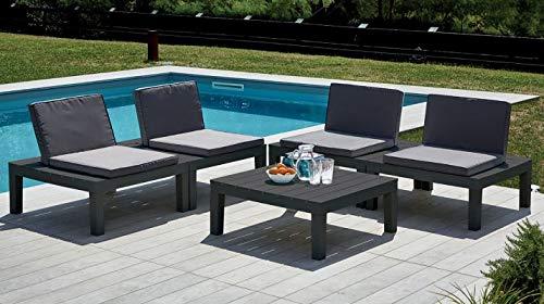 Dmora Set da Esterno Composto da 4 sedute ed Un tavolino, con Cuscini, Made in Italy, Color Antracite