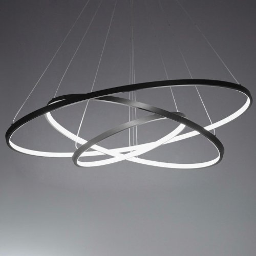 LightInTheBox 90W Pendant Light Modern Design LED Three Rings Chandeliers Black Color, Light Source=Warm White, Voltage=110-120V