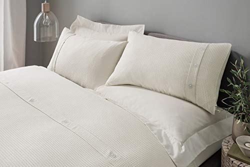 Waffle Cream Duvet Cover Bedding Set with Pillowcases - King