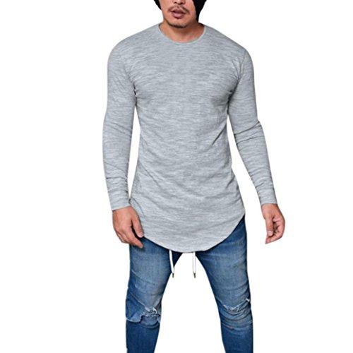 Toamen Hommes T-shirt Décontractée Slim Fit Muscle Manche Longue Couleur unie O Cou (Gris, XXL)