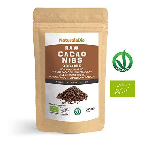 Grué de Cacao Cru Bio 200g | Organic Raw Cacao Nibs | 100% Naturel et Pur | Produit au Pérou par la Plante Theobroma Cacao | Superfood riche en antioxydants, minéraux et vitamines | NATURALEBIO