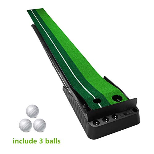 Golf Putting Green Mat Indoor Outdoor with Baffle Plate Auto Ball Return System Alignment Line Portable Mini Golf Practice Training Aid Equipment Game and Golf Gifts for Men Home Office Outdoor Use