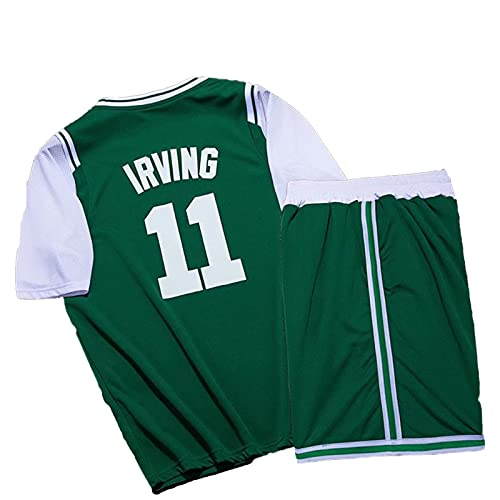 OLJB Irvińg 11# Basketball Jersey T-Shirt Men's and Women's Sets,Céltics Commemorative Breathable Fashion Training Green-XXXXL