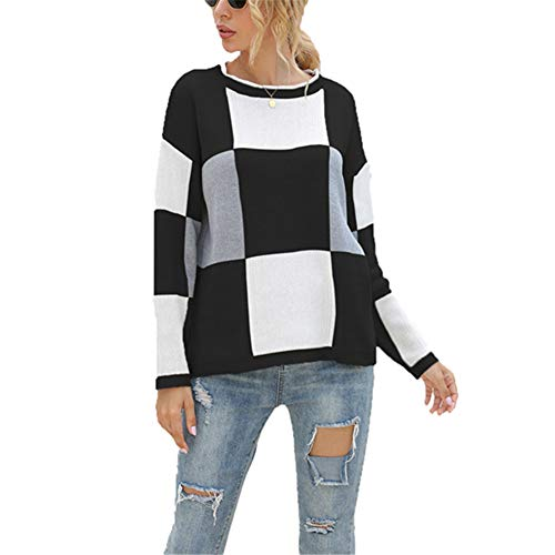 ZFQQ Autumn and Winter Women's Color Matching Checkered Round Neck Pullover Knit top Black