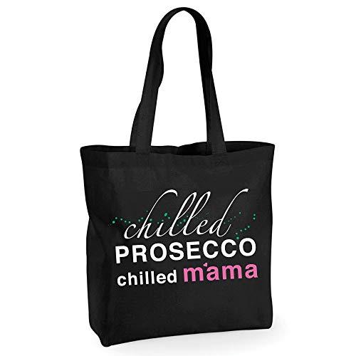 Prosecco Einkaufstasche, gekühlt, Prosecco Chilled Mama, hochwertige Baumwolle, wiederverwendbar, Schwarz