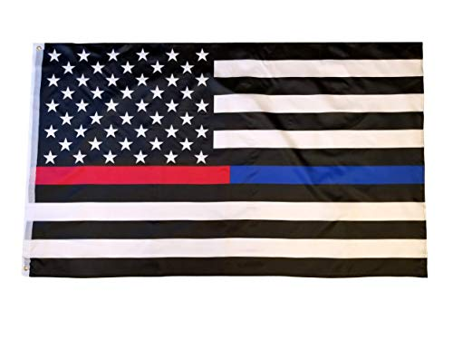 High Supply 3x5 Foot Thin Red Blue Line Flag with Brass Grommets, 100% Polyester Fabric, and Double Stitched Edges Flag of Fallen Firefighters and Police Officers 3x5 Flag