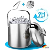 SilverRack Eiswürfelbehälter aus Edelstahl mit Zange u. Deckel (1,3l) - Eisbehälter für Eiswürfel u. Früchte ideal für Party u. Hochzeit - Eiskübel, Eiseimer Ice Bucket EIS Behälter