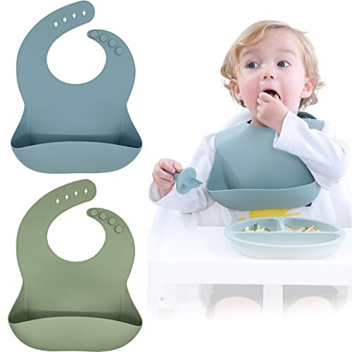 Silicone Baby Bibs Set Of 2, BPA Free Waterproof Soft Durable Adjustable Silicone Bibs for Babies & Toddlers (Ether/Sage)