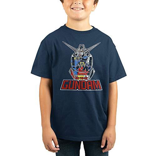 Gundam Anime Robot Cartoon Youth Boys Navy Shirt-Medium