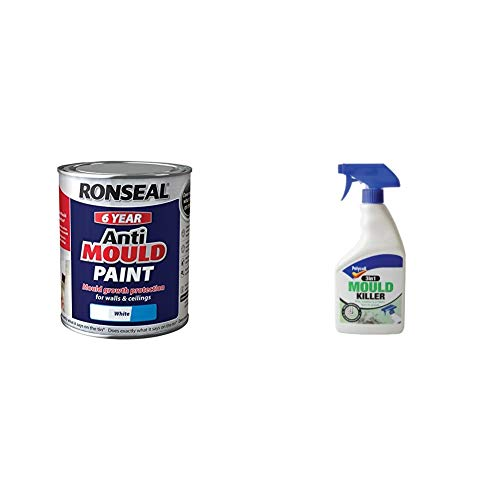 Ronseal AMPWM750 Anti Mould Paint White Matt 750ml & Polycell 3-in-1 Mould Killer Spray, 500 ml