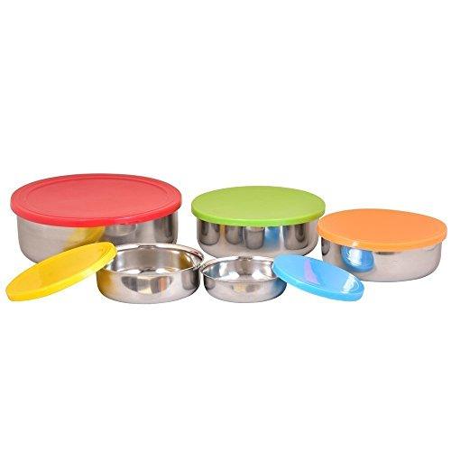Ciotole in acciaio INOX con coperchio ermetico in plastica colorata