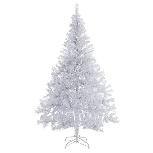 Casaria Árbol de Navidad Artificial Blanco de 180 cm de 533 Puntas con Soporte decoración de Interior Fiestas económico