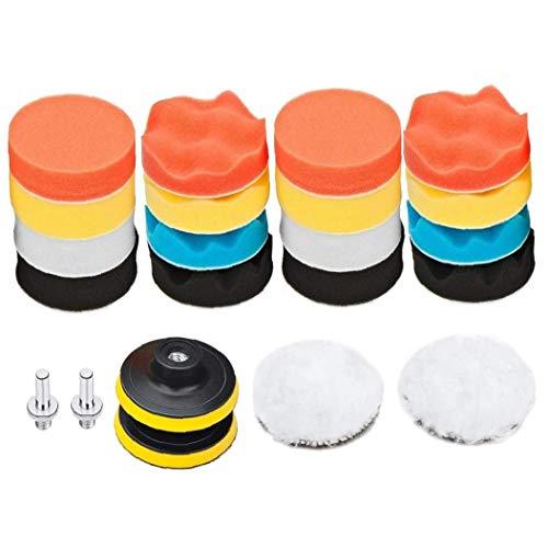 Nicetruc Foam Drill-Polierauflagen Kit Buffing Schwamm Pads mit Gewindebohrer Adapter Schaft für Schleifen Polieren Waxing 22PCS Accurate