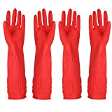 Rubber Cleaning Gloves Kitchen Dishwashing Glove 2-Pairs and Cleaning Cloth 2-Pack,Waterproof Reuseable. (Small)