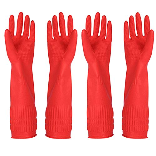 Rubber Cleaning Gloves Kitchen Dishwashing Glove 2-Pairs and Cleaning Cloth 2-Pack,Waterproof...